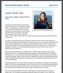 Oleta's article in the Plymouth White Paper Issue 2: Marine